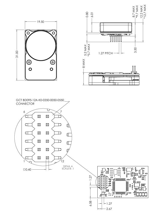 CozIR-LP2 寸法図