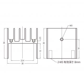 基板搭載用ヒートシンク 型番 30BB030 寸法図