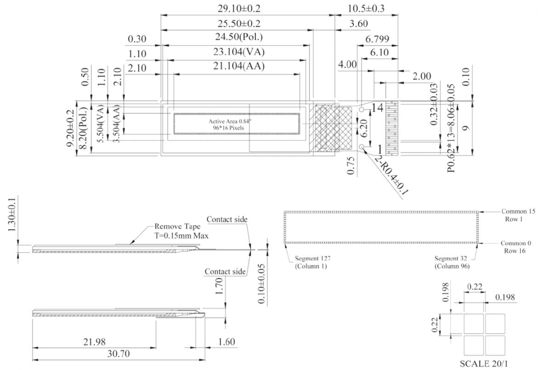 WINSTAR 社製 WEO009616A 有機 EL モジュールの寸法図