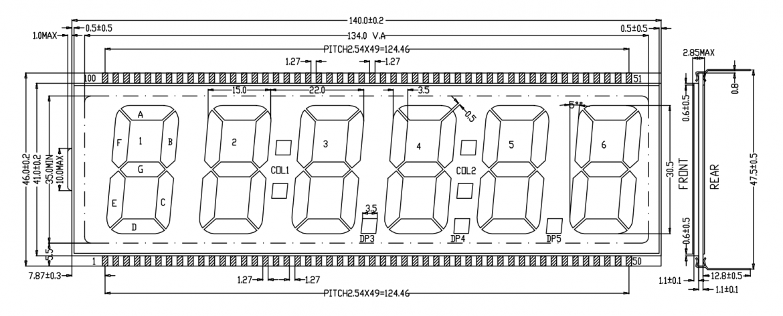JIYA 社 SVG 液晶ディスプレイの寸法図