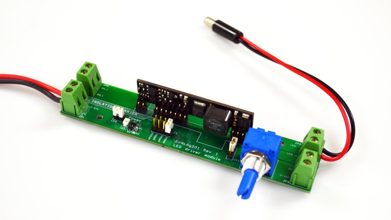 Ag201 LED ドライバーモジュール評価ボード:入力 12V ~ 57V/最大出力24W/アナログ調光、DALI コントロール端子、出力定電流切り替えターミナル付
