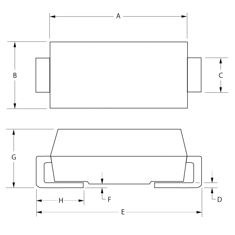 Bourns 社 SMAJ-Q/SMBJ-Q/SMCJ-Q/SMLJ-Q シリーズ寸法図