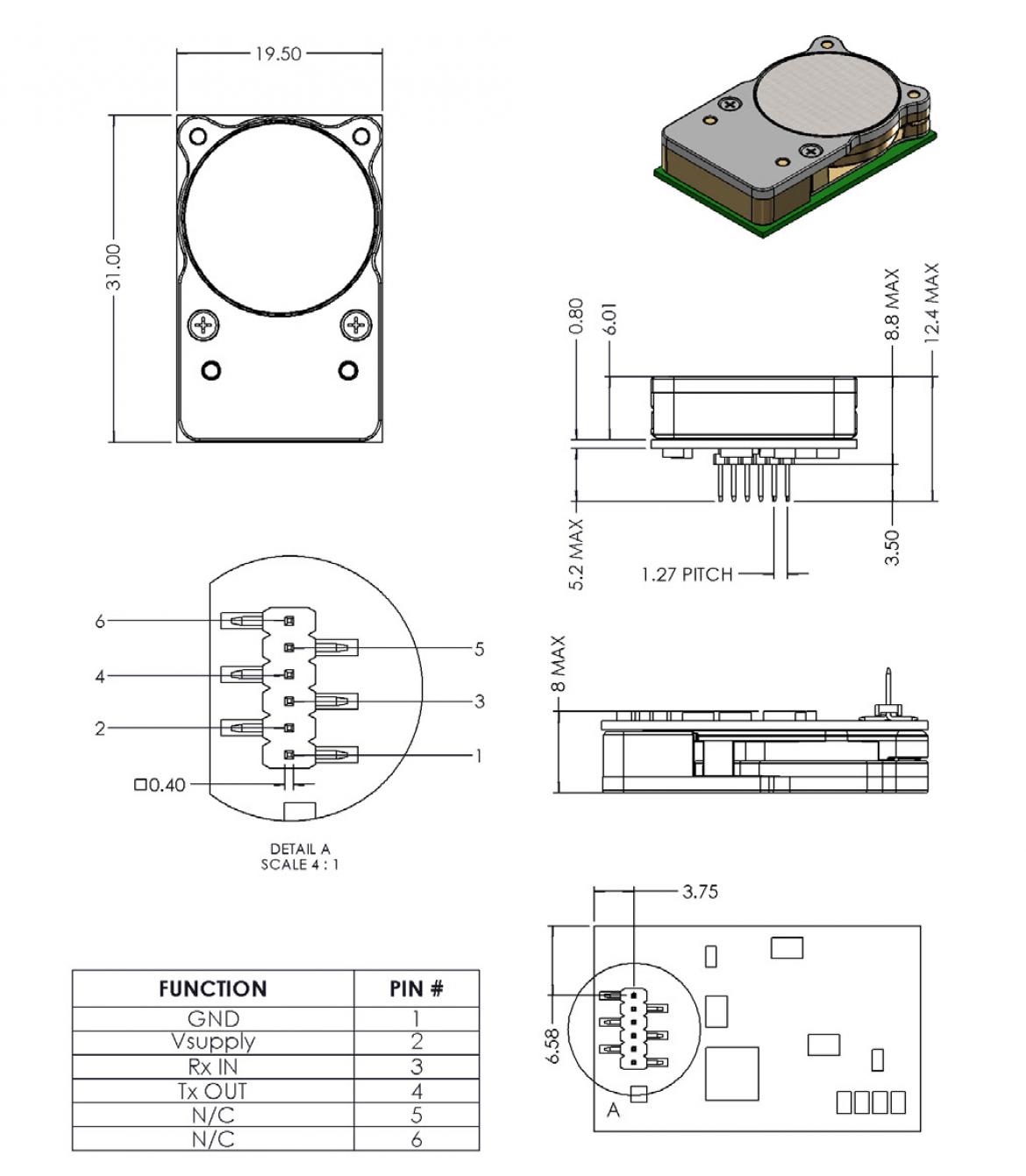 CozIR-LP 寸法図