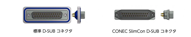 標準 D-Sub コネクタとのサイズ比較