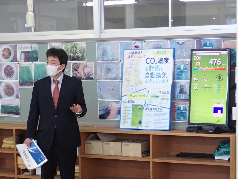 弊社開発担当五十嵐より、製品説明とCO2濃度を確認するメリット等について説明いたしました。