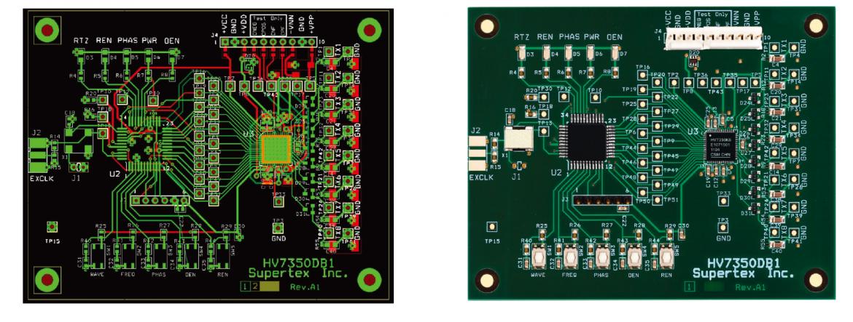 HV7350DB1 デモボード(実寸 72.4mm × 68.4mm)