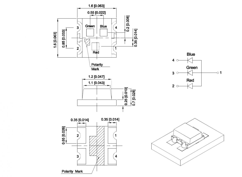 KPTF-1616 のパッケージ寸法図