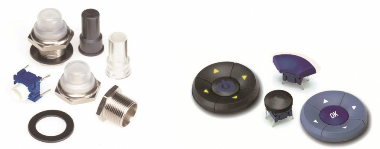 APEM 社の aquaMEC (左) と naviMEC (右) スイッチ