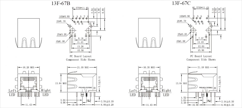 13F-67 シリーズの寸法図