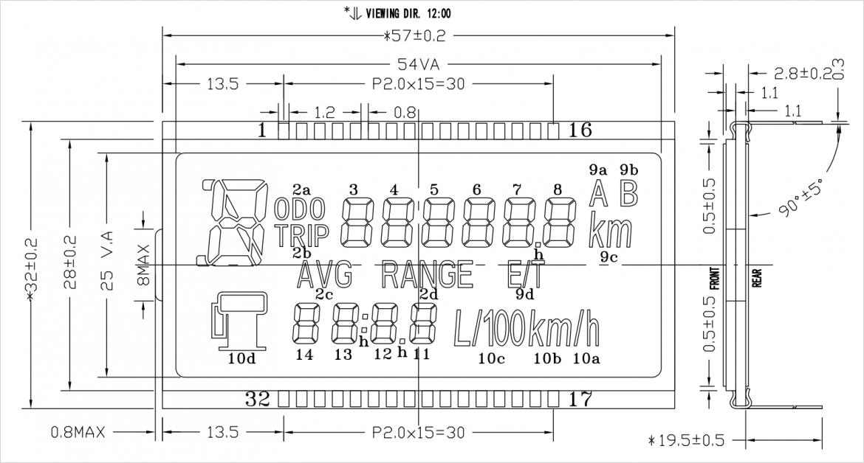 カスタム単色液晶モジュールの参考寸法図
