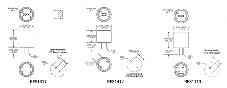 RFS1412/RFS1317/RFS1113 シリーズ寸法図