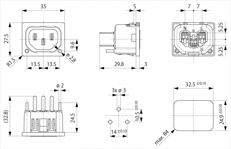 Schurter 社 6600-5 シリーズ 寸法図
