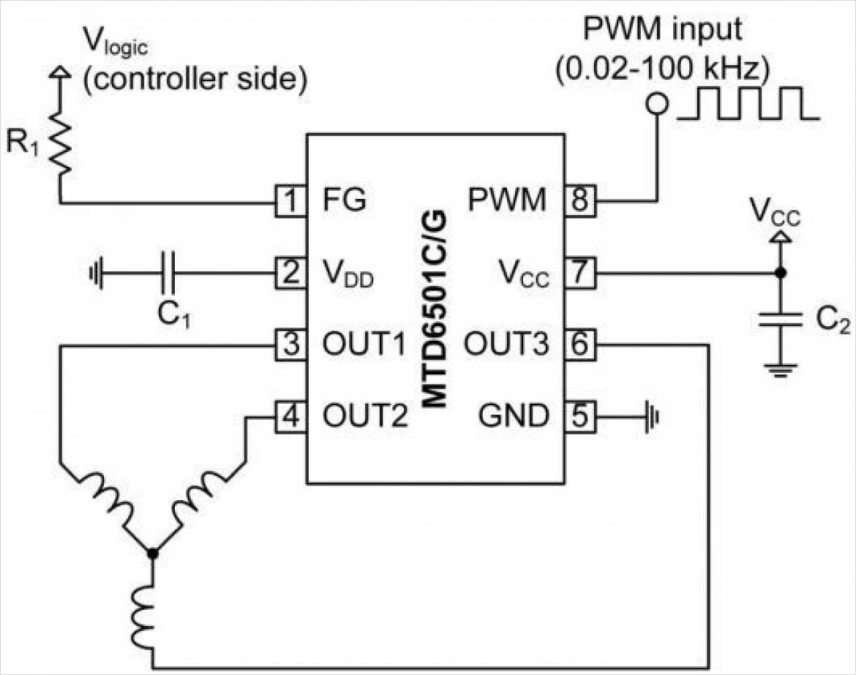 MTD6505の使用例(回路図