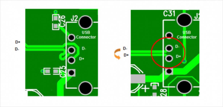 図2 D+/D- の反転を可能にする Port Swap