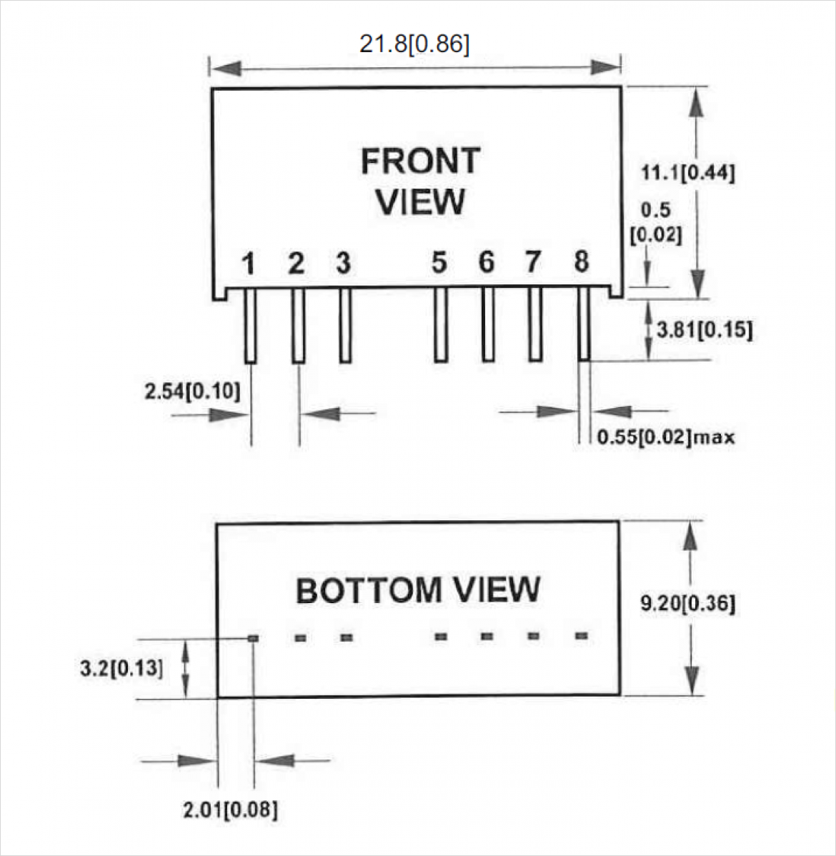 VSW シリーズパッケージの外型図