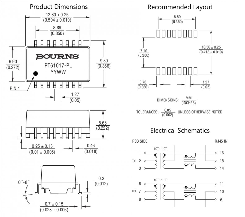 Bourns 社 PT61017PEL の寸法図(左)、推奨配列(右上)と電気的図形(右下)