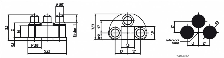 PRECI-DIP 社製高周波接続用スプリングコネクタの図面