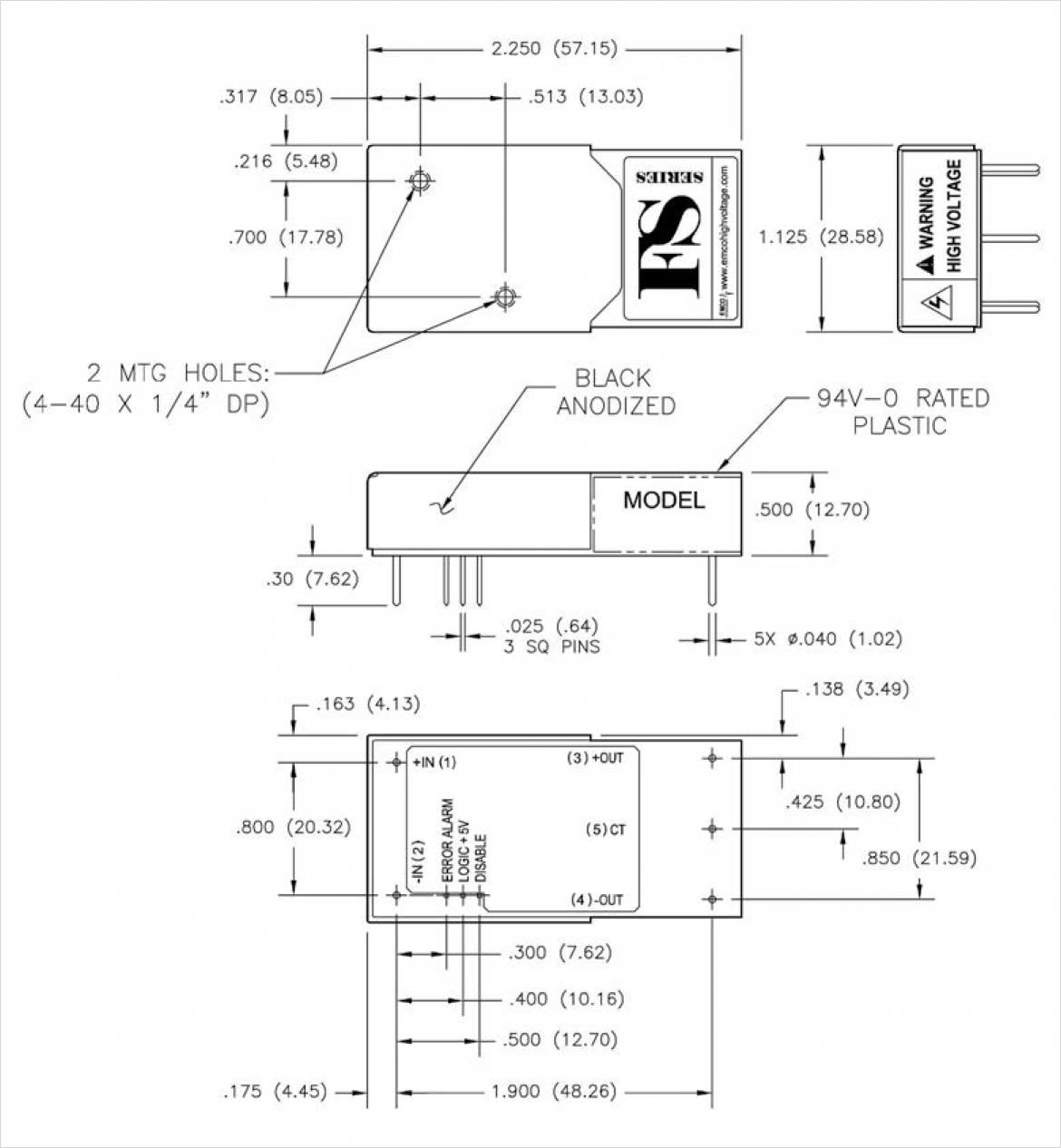 EMCO 社製絶縁型高電圧電源 FS シリーズ 寸法図