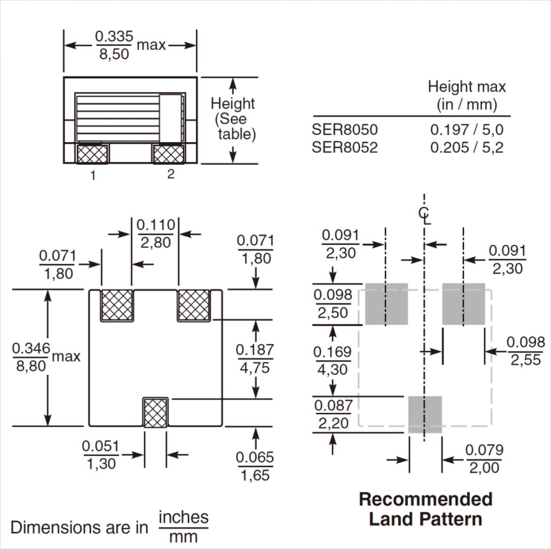 SER80xx シリーズの寸法図