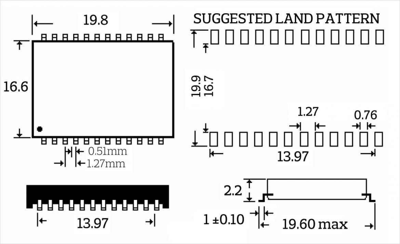 IH-009 寸法図と PCB パッドは位置図