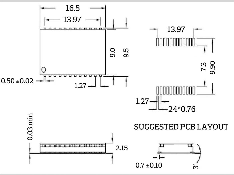 IH-080 寸法図と PCB パッドは位置図