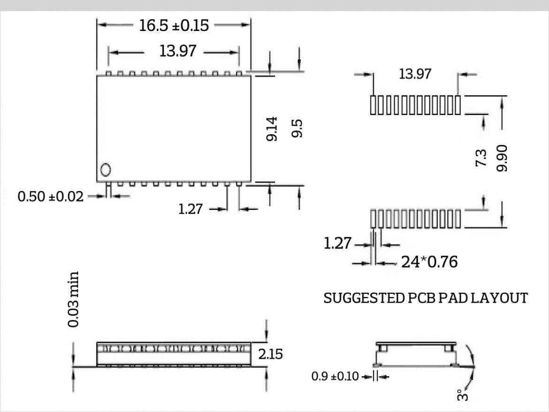 IH-207 寸法図と PCB パッドは位置図