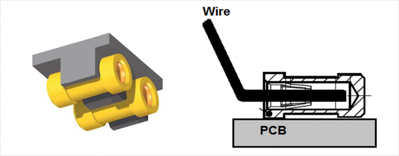 照明用コネクタの等角投影図(左)と断面図(右)