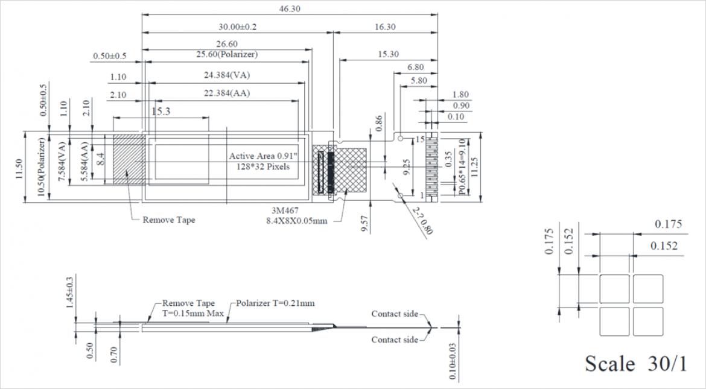 WINSTART Display 社製小型有機 EL WEO012832D の寸法図