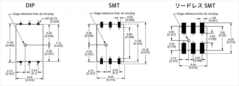 推奨 PCB レイアウト(DIP/SMT/リードレス SMT)