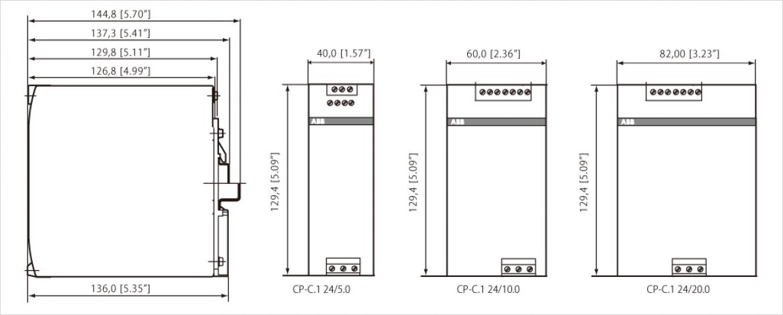 ABB 社製 CP-C.1 シリーズの外形寸法