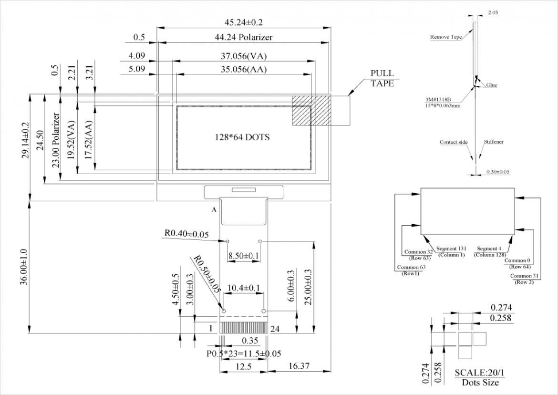 Winstar 社製有機 EL ディスプレイ WEO012864B の寸法図