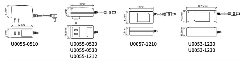 型番別の形状と寸法