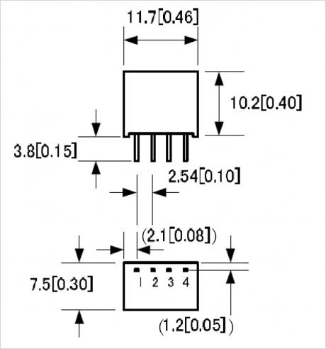 LV シリーズ パッケージ B 寸法図